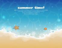 De zomerachtergrond met zand en water Royalty-vrije Stock Afbeeldingen