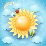 De zomerachtergrond met zon en hete luchtballons Royalty-vrije Stock Afbeeldingen