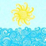 De zomerachtergrond, overzees, zon, golven Stock Afbeelding