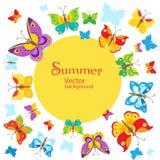 De zomerachtergrond Vectorvlindersontwerp als achtergrond Vlindervector Royalty-vrije Stock Afbeeldingen