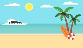 De zomerachtergrond - zonsondergangstrand Overzees, jacht en een palm Modern vlak ontwerp Vector illustratie Stock Afbeelding