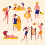 De zomeractiviteiten op het strand Sport en vrije tijd stock illustratie