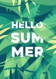 De zomerbanner, de Tropische vector van palmbladenwildernissen Stock Foto's