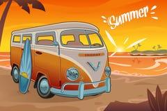 De zomerbestelwagen op het Strand vector illustratie