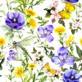 De zomerbloemen, weidegrassen, de lentekruiden Naadloze natuurlijke achtergrond Waterverf in blauwe kleur vector illustratie