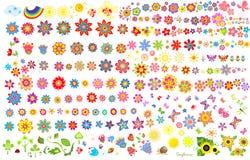 De zomerbloemen, zon en vlinders vector illustratie