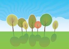 De zomerbomen in park. Vectorbeeldverhaallandschap. Stock Foto