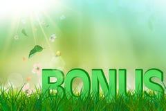 De zomerbonus in groen gras en bloemen het vallen Stock Afbeeldingen