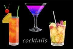 De zomercocktails met stukken van fruit royalty-vrije stock foto