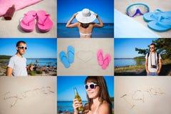 De zomerconcept - collage van de zomerbeelden Stock Foto