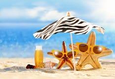 De zomerconcept met grappige zeester Stock Afbeeldingen