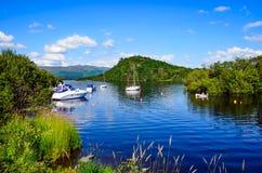 De zomerdag op Loch Lomond, Schotland Stock Foto's