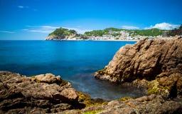 De zomerdagen in Tossa de Mar, Costa Brava, Spanje Stock Foto's