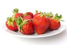 De zomerdessert - aardbeien Stock Foto's