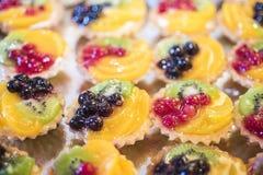 De zomerdessert van vruchten en bessen wordt gemaakt die stock foto's