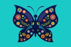 De zomerfestival, eerlijk met gevormde vlinder - vectorachtergrond vector illustratie