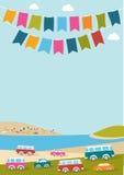 De zomerfestival, partij, muziekaffiche met kleurenvlaggen en retro auto's, bestelwagens, bussen Royalty-vrije Stock Fotografie