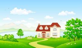 De zomerhuis bij het meer royalty-vrije illustratie