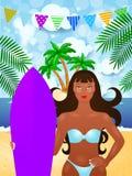 De zomerillustratie met aantrekkelijke meisje en branding Royalty-vrije Stock Afbeelding