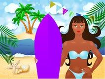 De zomerillustratie met aantrekkelijke meisje en branding Stock Foto