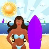 De zomerillustratie met aantrekkelijke meisje en branding Royalty-vrije Stock Foto