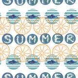 De zomerillustratie van abstract geometrisch naadloos patroon met blauwe waterverfcirkels stock illustratie
