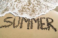 De zomerinschrijving op strand Stock Afbeelding