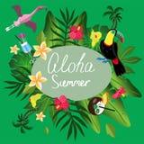 De zomerkaart met tropisch installaties en elementen vectorbeeld royalty-vrije illustratie