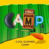 De zomerkamp als thema gehade affiche Stock Afbeelding