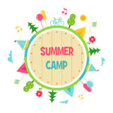 De zomerkamp en het Openluchtteken van de Activiteitencirkel Royalty-vrije Stock Afbeeldingen