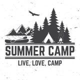 De zomerkamp Vector illustratie Concept voor overhemd of embleem, druk, zegel of T-stuk royalty-vrije illustratie
