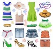 De zomerkleren van de inzameling stock afbeelding