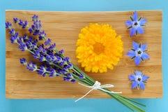 De zomerkruiden en eetbare bloemen op houten plaat. Royalty-vrije Stock Foto's
