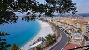 De zomerkust van Nice, vakantie in Frankrijk, rivieralandschap, toevluchtgebied stock videobeelden