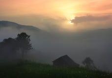 De ZOMERlandschap Bergdorp in de Oekraïense Karpaten Stock Afbeeldingen