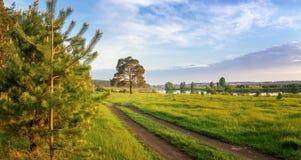 De zomerlandschap bij de Ural-rivier met bomen op de banken, Rusland royalty-vrije stock foto's