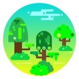 De zomerlandschap met bomen en struiken Royalty-vrije Stock Afbeelding