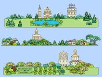 De zomerlandschap met een orthodoxe tempel Panorama van Th vector illustratie