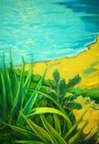 De zomerlandschap met een overzees en bank, die door olie een schilderen, illustrat Royalty-vrije Stock Afbeelding