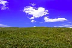 De zomerlandschap met groen gras de helling van heuvel en wolken op heldere blauwe hemel Stock Afbeeldingen