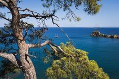 De zomerlandschap met overzeese mening, Turkije Stock Foto's