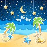 De zomerlandschap met palmen en shells, 's nachts Stock Afbeeldingen