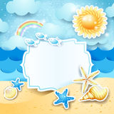 De zomerlandschap met uitstekend leeg etiket Stock Foto