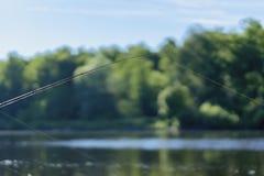 De zomerlandschap met vislijn op de achtergrond van meer, tegenover kust, ochtend, selectieve nadruk De ruimte van het exemplaar Stock Foto's