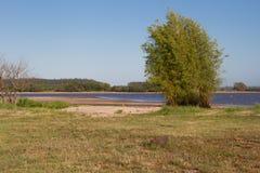 De zomerlandschap op de banken van het zand van het rivierwater en de duidelijke hemel in de stad van federatieprovincie van entr Stock Afbeeldingen