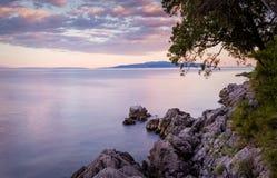 De zomerlandschap in Opatija, Kroatië Stock Foto