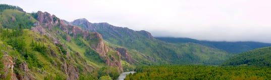 De zomerlandschap in de Siberische bergen stock foto's