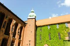 De zomerlandschap van Stad Hall Tower in de Oude Stad in Stockholm, stock foto's