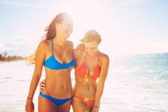 De zomerlevensstijl, Vrienden bij het Strand Stock Afbeelding