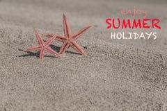 De zomermalplaatje met zeesterren op een zandig strand Stock Foto's